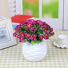 SYHOME Künstliche Fake Blumen Dekoration Esstisch Home Zubehör Silk Flower Daisy Lila