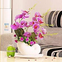 SYHOME Künstliche Fake Blumen Dekoration Esstisch Home Zubehör Pu Orchid verpackt Kunststoff Rosa