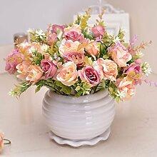SYHOME Künstliche Fake Blumen Dekoration Esstisch Home Zubehör Kit silk Blume rosa Rose