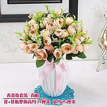 SYHOME Künstliche Fake Blumen Dekoration Esstisch Home Zubehör Kit Kunststoff Rose Blume rosa Seide
