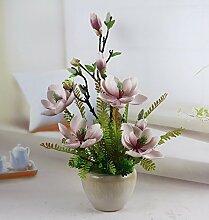 SYHOME Künstliche Fake Blumen Dekoration Esstisch Home Zubehör Orchidee Kit Kunststoff Rosa