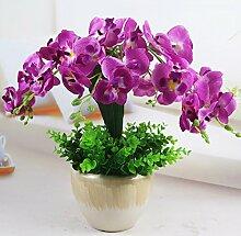 SYHOME Künstliche Fake Blumen Dekoration Esstisch Home Zubehör Orchidee Kit Kunststoff Lila