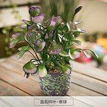 SYHOME Künstliche Fake Blumen Dekoration Esstisch Home Zubehör Plant Kit Small Tree Lila