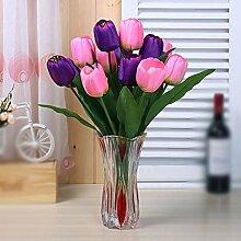 SYHOME Künstliche Fake Blumen Dekoration Esstisch Home Zubehör Tulip Kit silk Blume Rosa Lila