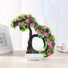 SYHOME Künstliche Fake Blumen Dekoration Esstisch Home Zubehör Kunststoff合Baum Rosa