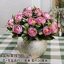 SYHOME Künstliche Fake Blumen Dekoration Esstisch Home Zubehör Esstisch Kunststoff Rosa
