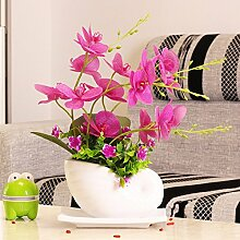 SYHOME Künstliche Fake Blumen Dekoration Esstisch Home Zubehör Pu Orchid verpackt Kunststoff Lila