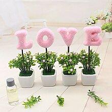 SYHOME Künstliche Fake Blumen Dekoration Esstisch Home Zubehör Pflanze Rosa weißes Quadrat Vasen R