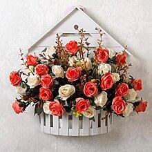 SYHOME Künstliche Fake Blumen Dekoration Esstisch Home Zubehör Wandhalterung Blumenkörbe Blumen Kit silk Blume Rosa