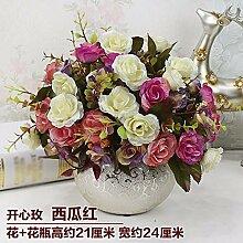SYHOME Künstliche Fake Blumen Dekoration Esstisch Home Zubehör Esstisch Kunststoff Rosa Weiß