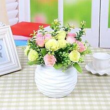 SYHOME Künstliche Fake Blumen Dekoration Esstisch Home Zubehör silk Blume Rosa Gelb