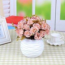 SYHOME Künstliche Fake Blumen Dekoration Esstisch Home Zubehör silk Blume Rosa
