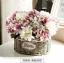SYHOME Künstliche Fake Blumen Dekoration Esstisch Home Zubehör Rose Kit Stroh Rosa