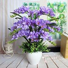 SYHOME Künstliche Fake Blumen Dekoration Esstisch Home Zubehör Orchidee Kit Kunststoff Seide Blume lila