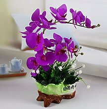SYHOME Künstliche Fake Blumen Dekoration Esstisch Home Zubehör Orchidee Set Lila