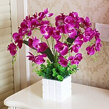 SYHOME Künstliche Fake Blumen Dekoration Esstisch Home Zubehör Orchid Suite Seide Blume lila