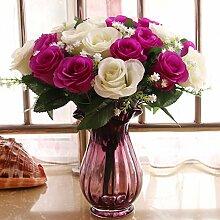 SYHOME Künstliche Fake Blumen Dekoration Esstisch Home Zubehör getrocknete Blumen in Vasen aus Glas Kit Rose Lila
