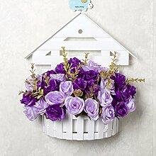 SYHOME Künstliche Fake Blumen Dekoration Esstisch Home Zubehör Wandhalterung Blumenkörbe Blumen Kit silk Blume Rose Lila