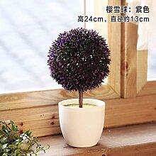 SYHOME Künstliche Fake Blumen Dekoration Esstisch Home Zubehör Kit Kunststoff Blume Kugel Pflanze Bonsai Lila