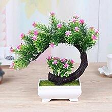 SYHOME Künstliche Fake Blumen Dekoration Esstisch Home Zubehör Bonsai Pflanze Desktop Rosa