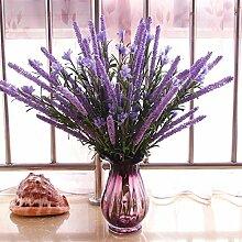 SYHOME Künstliche Fake Blumen Dekoration Esstisch Home Zubehör getrocknete Blumen Glas Vasen Set Lavendel Lila
