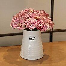 SYHOME Künstliche Fake Blumen Dekoration Esstisch Home Zubehör Nelke Kit Vase silk Blume Rosa