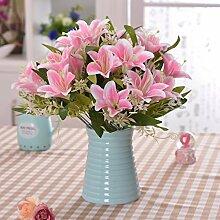 SYHOME Künstliche Fake Blumen Dekoration Esstisch Home Zubehör Silk Flower Keramik Vasen Kit rosa Lilie
