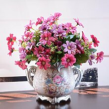 SYHOME Künstliche Fake Blumen Dekoration Esstisch Home Zubehör Kunststoff Seide Blume Rosa