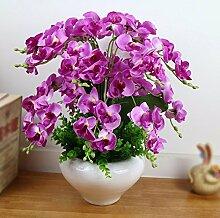 SYHOME Künstliche Fake Blumen Dekoration Esstisch Home Zubehör Kit Kunststoff silk Blume Rosen Lila