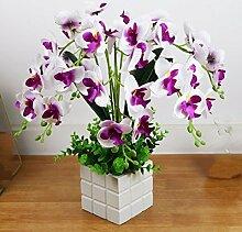 SYHOME Künstliche Fake Blumen Dekoration Esstisch Home Zubehör Orchidee Kit Seide Blume lila