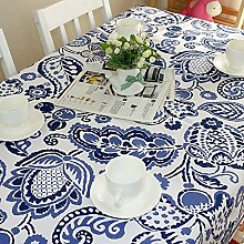 SYHOME Tischdecke Tischtuch Europäische Baumwolle Cartoon Kaffee Kaffee Shopblue Pflanzen,130 * 130 cm