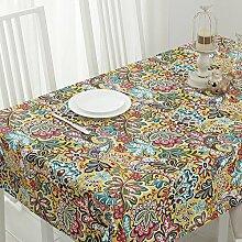 SYHOME Tischdecke Tischtuch Europäische dicken Leinen Cafe Speisesaal 100*160 cm Gelb