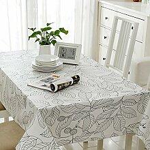 SYHOME Tischdecke Tischtuch Europäische dicken Leinen Cafe Speisesaal,weißes Blatt 120*180 cm.