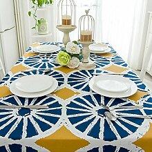 SYHOME Tischdecke Tischtuch Europäische dicken Leinen Cafe Speisesaal 90 * 90 cm Blauer Kreis
