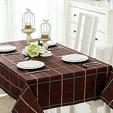 SYHOME Tischdecke Tischtuch Europäische dicken Leinen Cafe Speisesaal dunkel braun Kariert 120*160 cm
