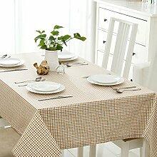 SYHOME Tischdecke Tischtuch Europäische dicken Leinen Cafe Esszimmer Braun Kariert 120*160 cm