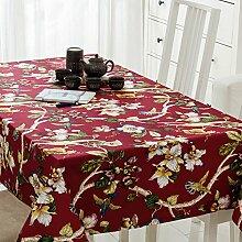 SYHOME Tischdecke Tischtuch Europäische dicken Leinen Cafe Speisesaal rote Blume 120*180 cm.