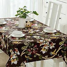 SYHOME Tischdecke Tischtuch Europäische dicken Leinen Cafe Esszimmer Braun Blume 100*160 cm