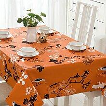 SYHOME Tischdecke Tischtuch Europäische dicken Leinen Cafe Speisesaal Orange Blume 80 * 120 cm