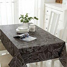 SYHOME Tischdecke Tischtuch Europäische dicken Leinen Cafe Speisesaal graue Blätter 120*120 cm