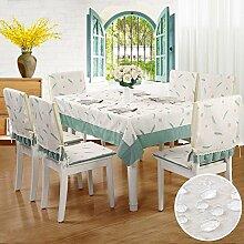 SYHOME Tischdecke Tischtuch Europäische Esszimmer Verdicken wasserdicht Tee Tabelle Covermall Feder,110 * 160 cm