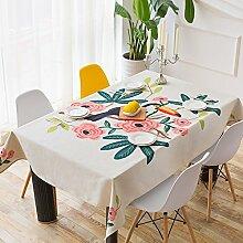 SYHOME Tischdecke Tischtuch Rechteckige Baumwolle Leben Roomtea Anti-Hot Tabelle 140 * 180 cm weiß