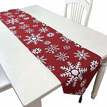 SYJYA Tischläufer Schneeflocke Elch Kranz Muster
