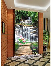 Sykdybz Home Decoration Wasserfall Holzbrücke Lotusblatt Landschaft Eingang Dekoration Malerei 3D Bad Wallpaper -400Cmx280Cm