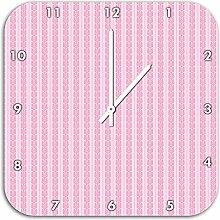 Symbolketten Rosa, Wanduhr Durchmesser 28cm mit schwarzen spitzen Zeigern und Ziffernblatt, Dekoartikel, Designuhr, Aluverbund sehr schön für Wohnzimmer, Kinderzimmer, Arbeitszimmer