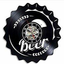 syssyj Bier Schallplatte Wanduhr Modernes Design