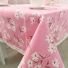SYT Tablecloths Blumendruck Dekorative Tischdecke Baumwolle Leinen Spitze Tischdecke Esstisch Abdeckung Für Küche Wohnkultur, 140x140 cm, Rosa