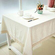 SYT Tablecloths Dekorative Tischdecke Baumwolle Leinen Spitze Tischdecke Esstisch Abdeckung für Küche Wohnkultur, 100x140 cm, a