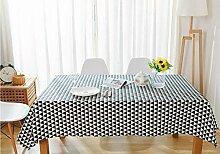 SYT Tablecloths Dreieck Muster Dekorative Tischdecke Baumwolle Leinen Tischdecke Esstisch Abdeckung Für Küche Wohnkultur, 130x150 cm, schwarz