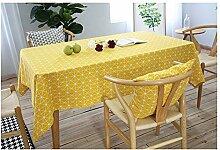 SYT Tablecloths Gelb Schachbrett Dekorative Tischdecke Baumwolle Leinen Tischdecke Esstisch Abdeckung Für Küche Wohnkultur, 140x140 cm, gelb